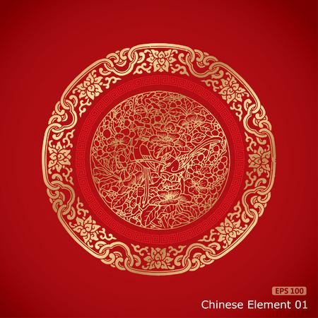 nouvel an: Elements Vintage chinois sur fond rouge classique
