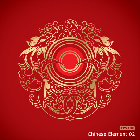 Chinese Vintage Dragon Elements on classic red background Ilustracja