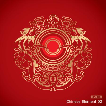 dragon chinois: Vintage chinois Dragon éléments sur fond rouge classique Illustration