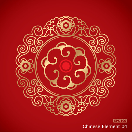 Chinese Vintage Elements on classic red background Ilustracja
