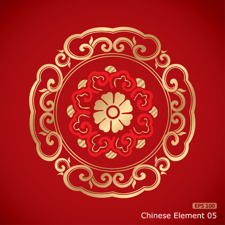 chinese new year element: Chinese Vintage Elements on classic red background Illustration