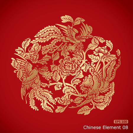 dessin fleur: Ph�nix trois �l�ments autour de fleurs chinois sur fond rouge classique