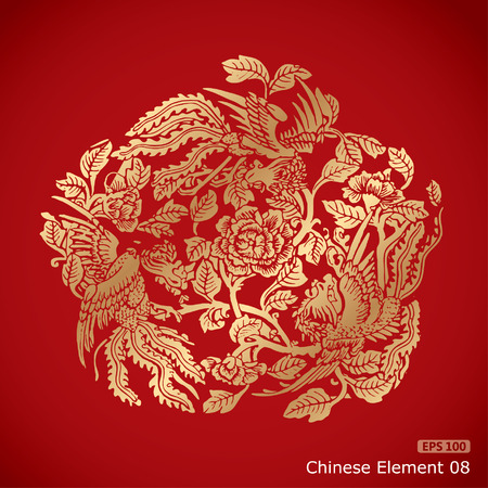 chinese symbol: three Phoenixes around chinese flower elements on classic red background
