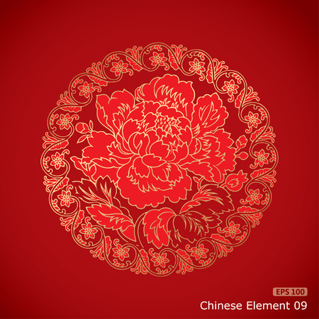 chinese vintage Peony elements on classic red background Ilustração