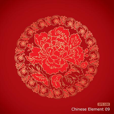 Elementos Peony chino del vintage en fondo rojo clásico Foto de archivo - 34943558