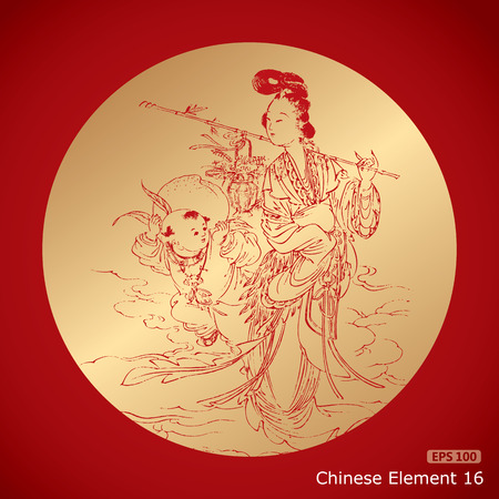fortune flower: a boy with a big peach and a woman takes a Basket full of flower, chinese traditional style