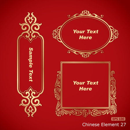 Chinese vintage elements banner Vector