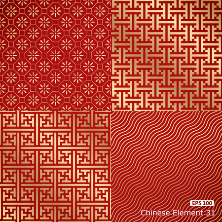 four Chinese vintage seamless damask wallpaper  イラスト・ベクター素材