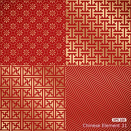 silk fabric: cuatro damasco papel pintado inconsútil de la vendimia china Vectores