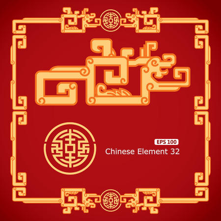 chinese border: Chinese Vintage Dragon Elements on classic red background Illustration
