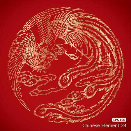 flores chinas: elementos de Phoenix del chino del vintage en fondo rojo clásico Vectores