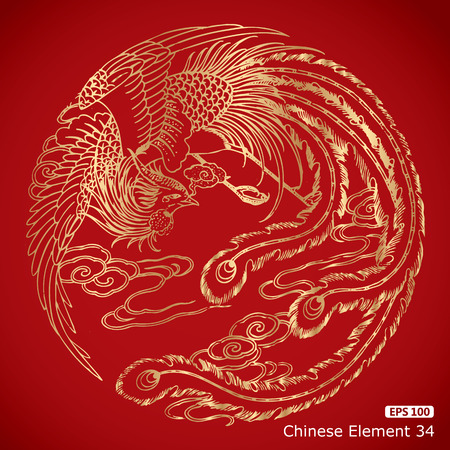 chinese vintage Phoenix elements on classic red background