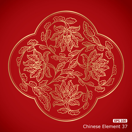 Chinese Vintage flower Elements on classic red background