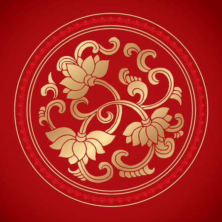 Chinese Vintage Lotus Elements on classic red background Ilustracja