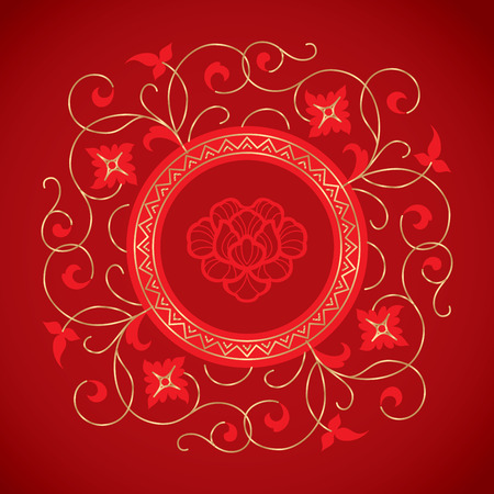 chinese border: chinese vintage flower elements on classic red background