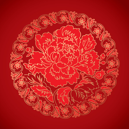 symbol traditional: chinese vintage Peony elements on classic red background Illustration