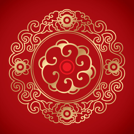red circle: Chinese Vintage Elements on classic red background Illustration