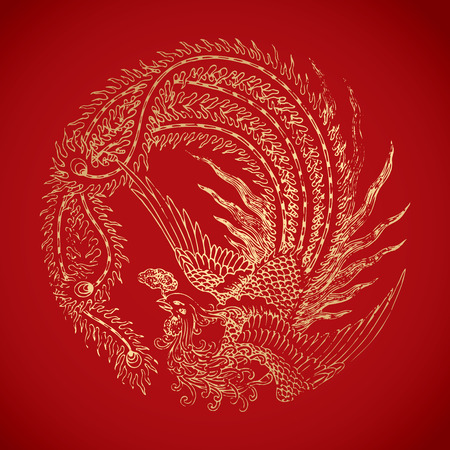 chinese phoenix: chinese vintage Phoenix elements on classic red background