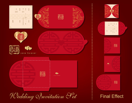A complete wedding invitation set. Include card, folder, envelope. Chinese wedding style.