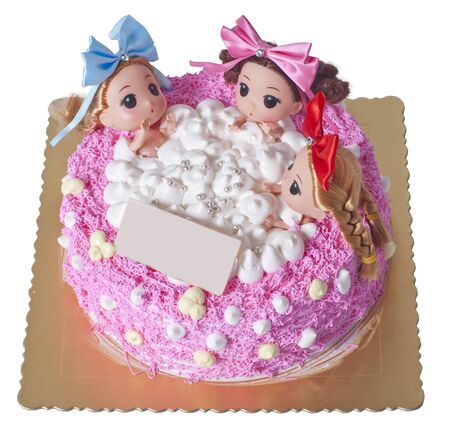 three girls: A Creative Cake with three girls sitting in bathtub.