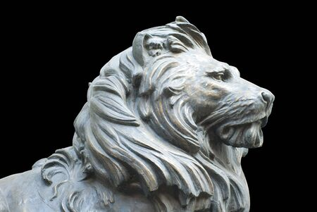 marbles close up: A isolated lions head on black background