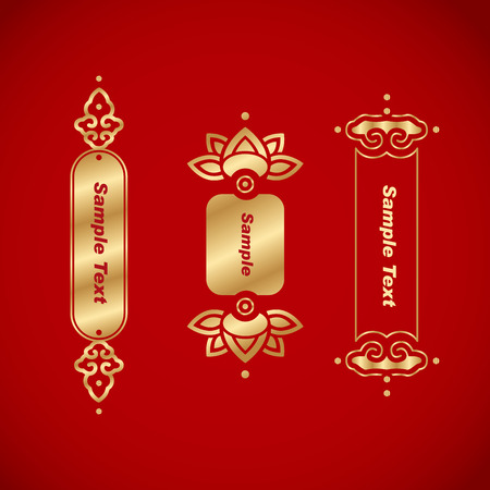 chinese scroll: Chinese vintage frame. Chinese traditional banner on red background. Illustration