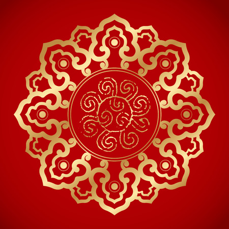 fortune flower: Chinese Vintage Elements on classic red background Illustration