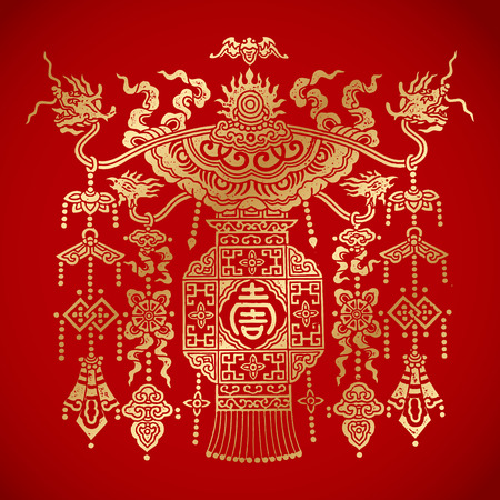 vintage element: chinese traditional Lantern on red background. chinese vintage element.