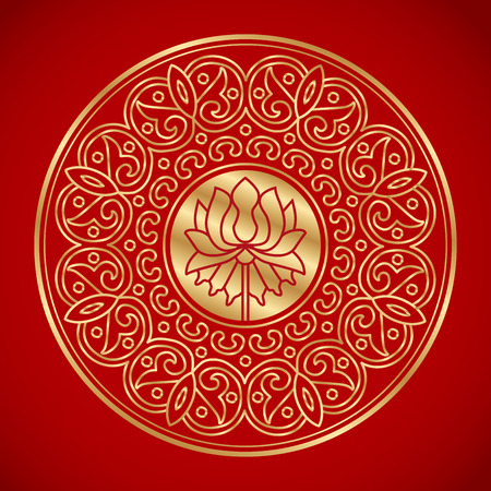 chinese element of lotus. china traditional pattern. vintage background. Illustration