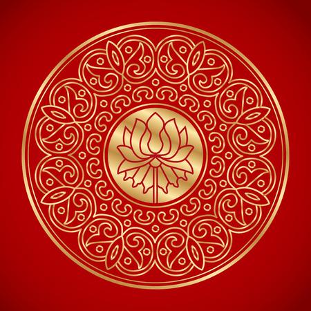 연꽃의 중국어 요소입니다. 중국 전통 패턴입니다. 빈티지 배경입니다.