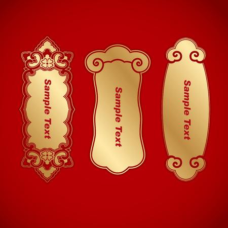 three Chinese vintage elements banner Illustration