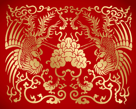 Chinese traditional vintage two Phoenix Illustration