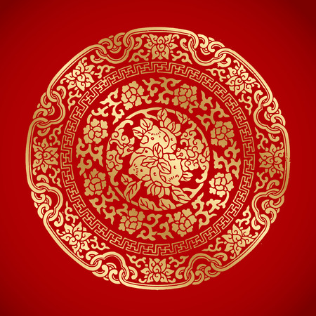 Chinese Vintage Elements on classic red background Çizim