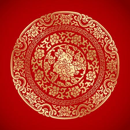 flores chinas: Elementos de la vendimia china en el fondo rojo clásico Vectores
