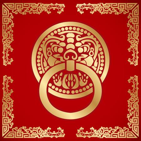 dorado: Aldaba de cabeza de león chino alrededor con figuras de dragón