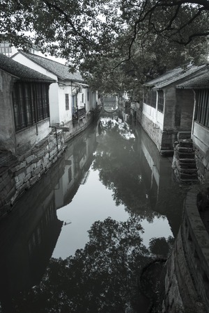 waterway: Jinxi ancient Water town near Shanghai in black and white style.