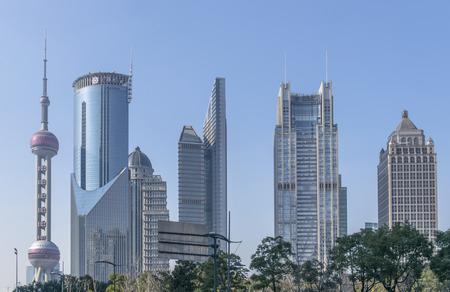 SHANGHAI-FEB. 9 ,: Oriental Pearl Tower and buildings of lujiazui. Landmarks of Shanghai.