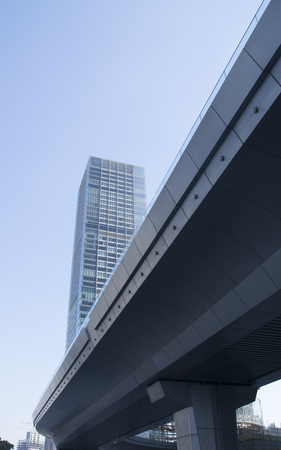 Mordern overpasses and building. Located at Shanghai China.