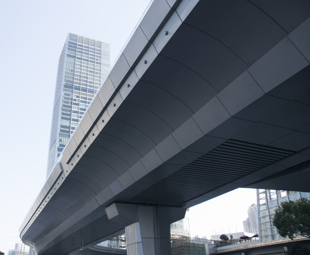 Modern overpasses and building. Located at Shanghai China.