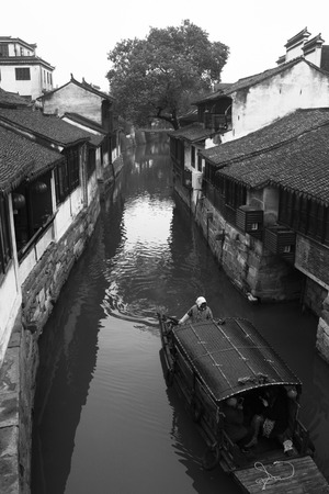 Jinxi ancient Water town near Shanghai.Black and white style