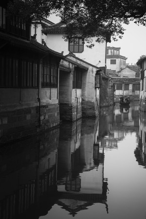 water town: Jinxi ancient Water town near Shanghai in black and white style.