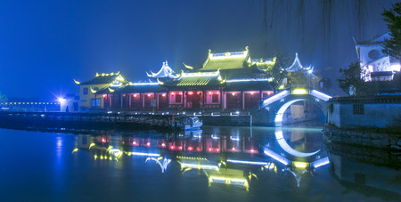 Night of a small water town of Shangha China with pretty lights