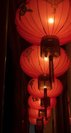 Chinese red lanterns in line