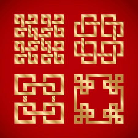 Nudos chinos dorados sobre fondo rojo Foto de archivo - 93686883