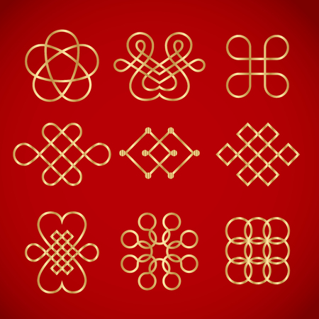 golden chinese knots on red background