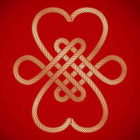 golden rope chinese knots on red background