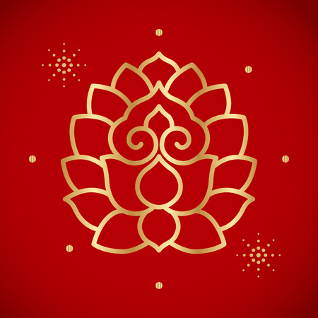 golden chinese vintage lotus on red background