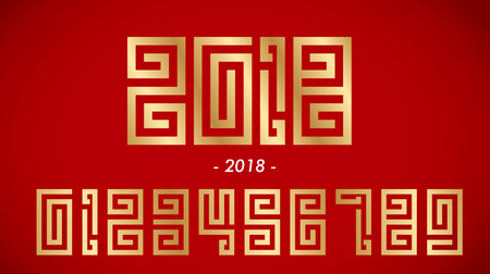 Numbers in chinese style on red background Ilustracja