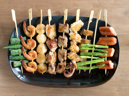 Yakitori: Japanese grilled bite-sized food on skewers