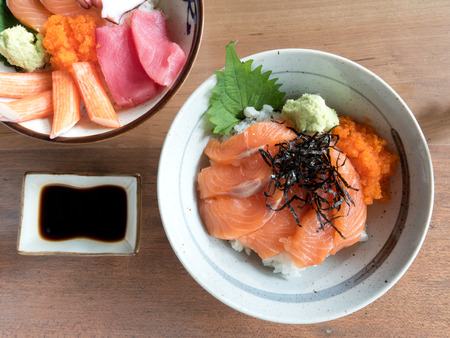 Salmon on rice, sushi, salmon don Stock Photo
